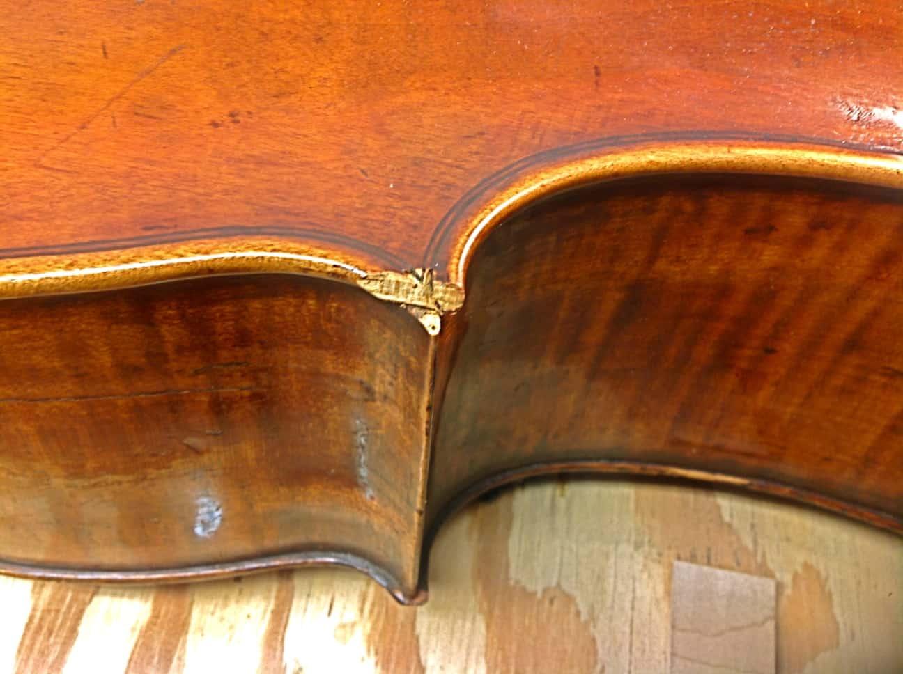 Violin Repair - BEFORE